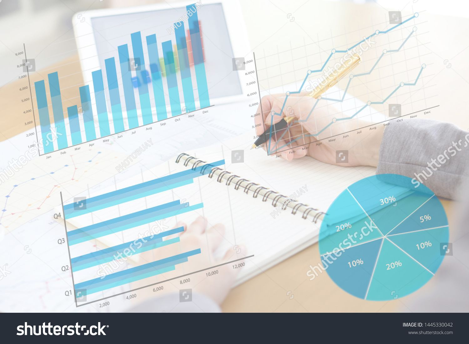 business woman analysis with financial graph at office workplace