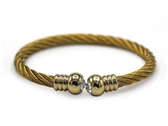 Decorative Stainless Steel Cuff Bracelet CZ Endcap Bangle (Gold)