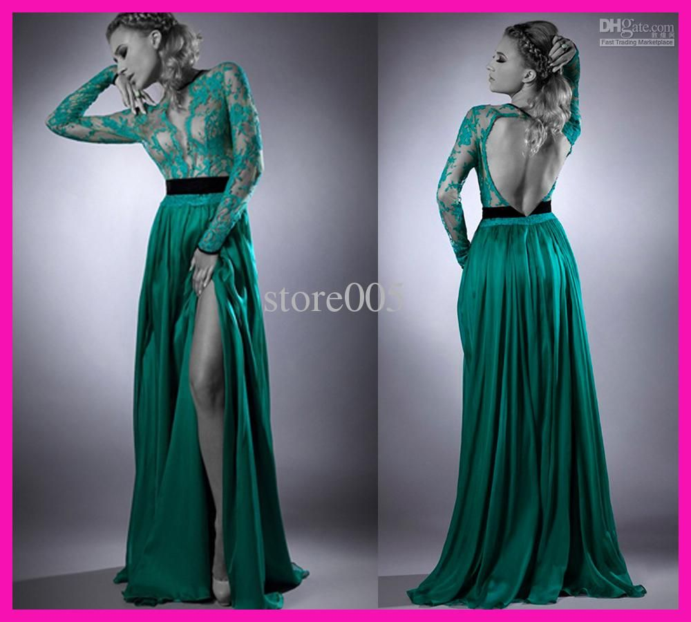 Sexy green lace high neck backless long chiffon evening prom dress