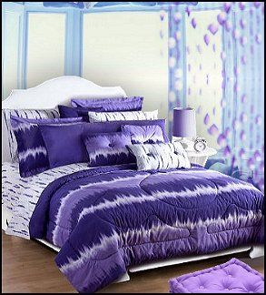 Superior Tie Dye Purple Bedding Beaded Curtains Funky Hippie Chick Theme Bedroom