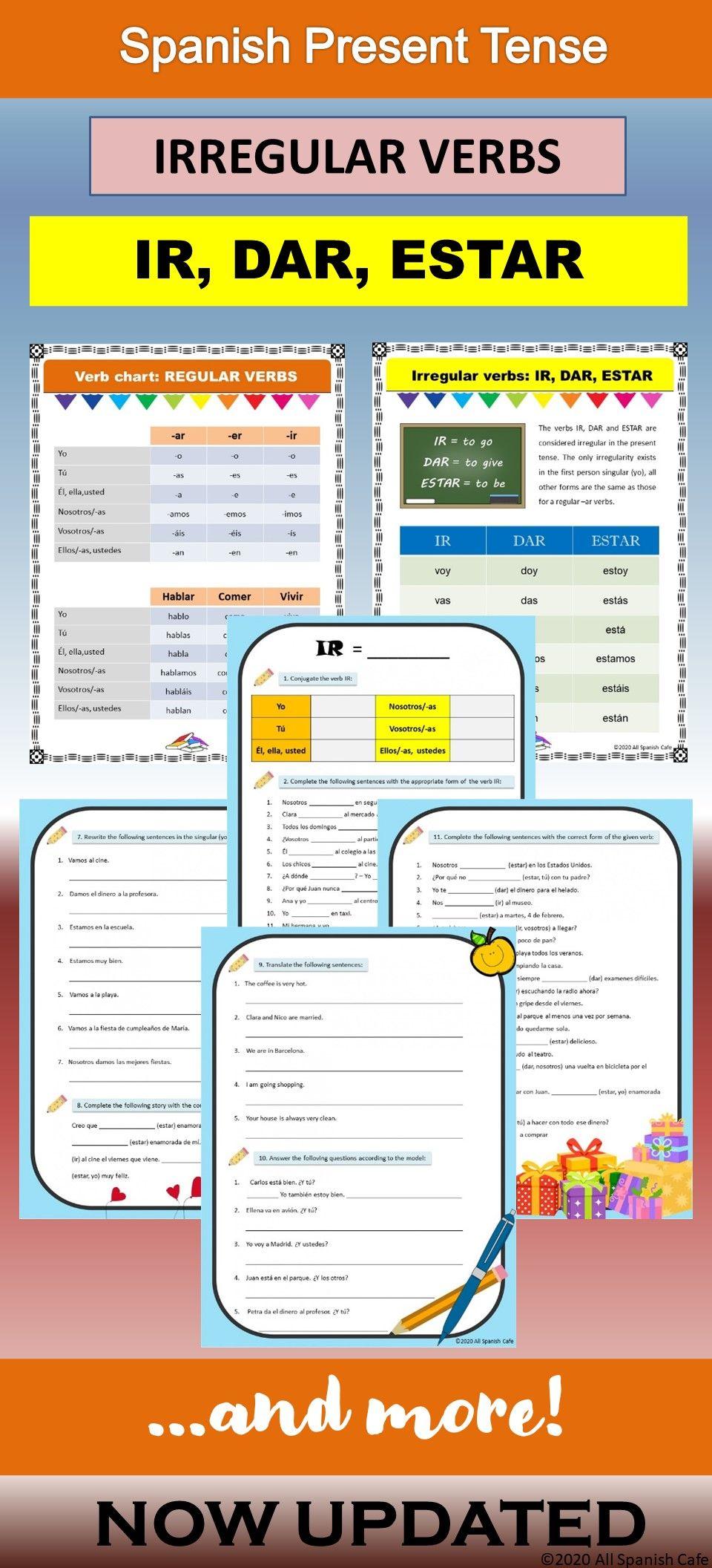 Spanish Present Tense Irregular Verbs Ir Dar Estar Spanish Teacher Resources Teaching Spanish Dual Language Classroom [ 2112 x 960 Pixel ]