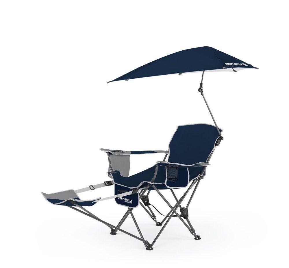 Sport Camping Reclining Chair Adjustable Umbrella Shade Beach Pool Outdoor  Blue