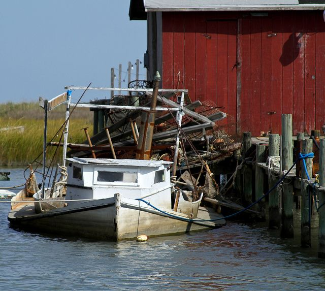 Old Fishing Boats On Beach: Old Boat In Water, Tangier Island By Chesbayprogram, Via