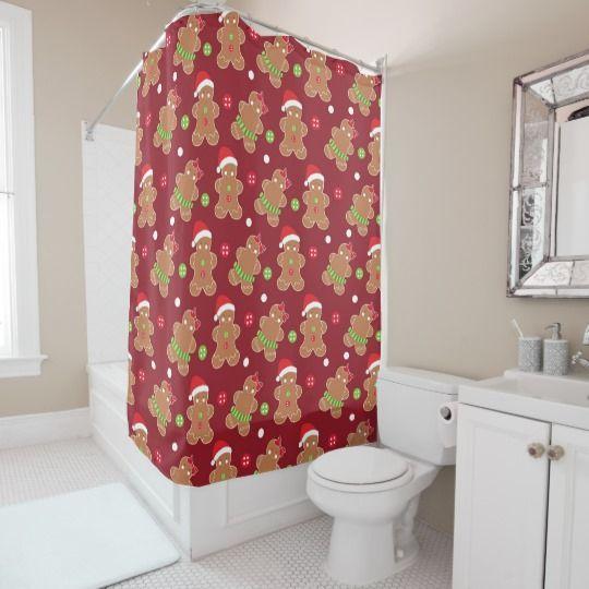 Christmas Theme Gingerbread Men Shower Curtain