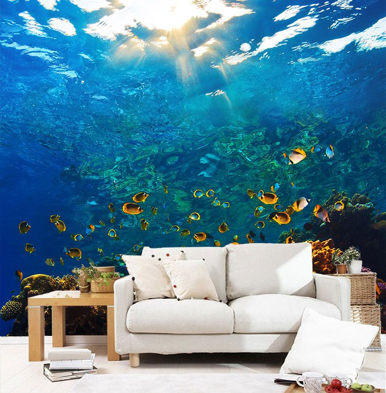 3D Ocean Ripple Wall Murals Wallpaper Decal Decor Home