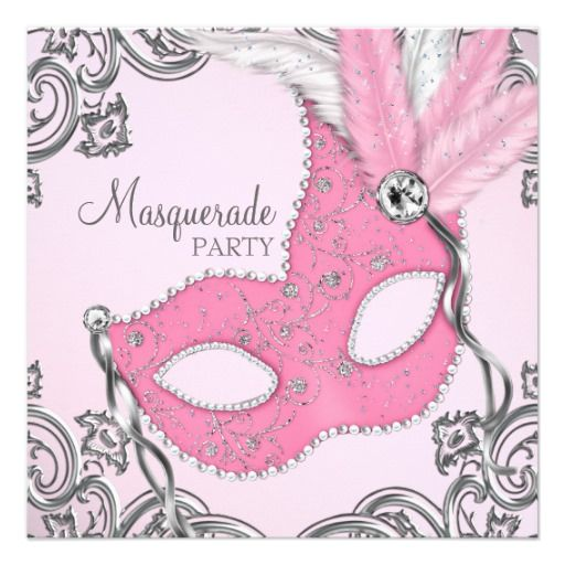 Elegant Silver and Pink Masquerade Party Invitation
