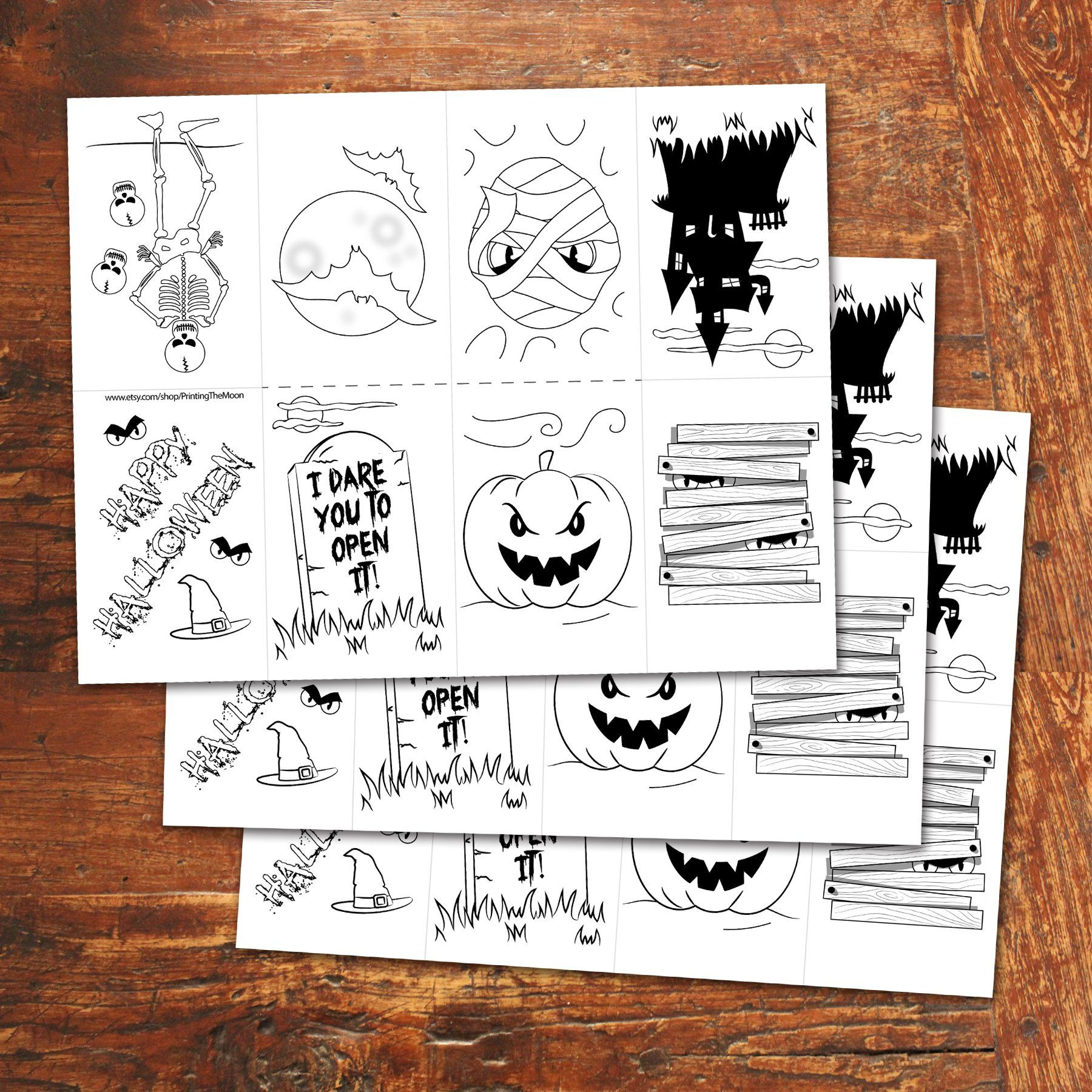 Halloween Mini Book Color In Pdf File Instant Download Printing The Moon
