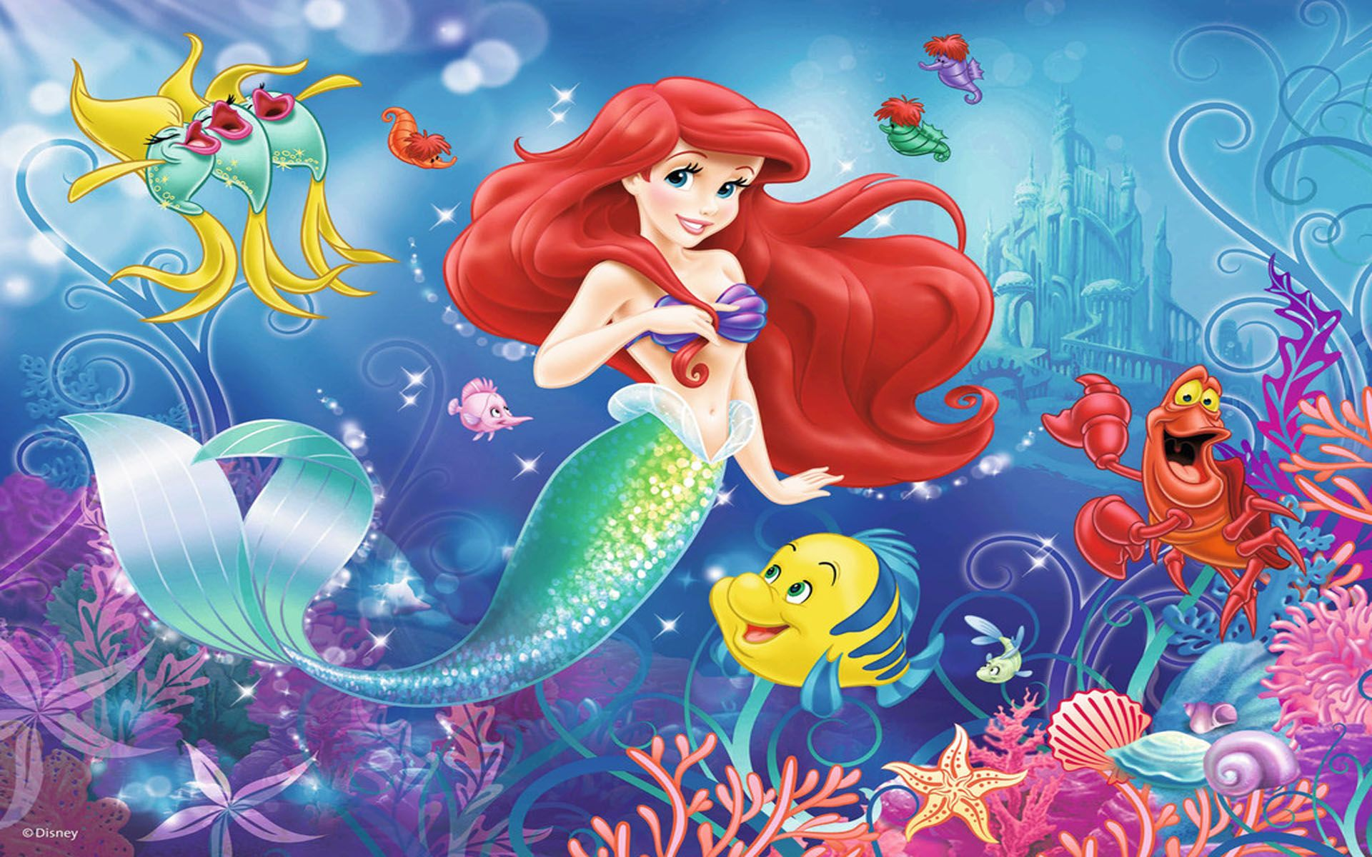 Download Cartoon Disney Princess Ariel The Little Mermaid Fish Flounder Sebastian The Crab Pu Little Mermaid Wallpaper Mermaid Wallpapers Disney Princess Ariel