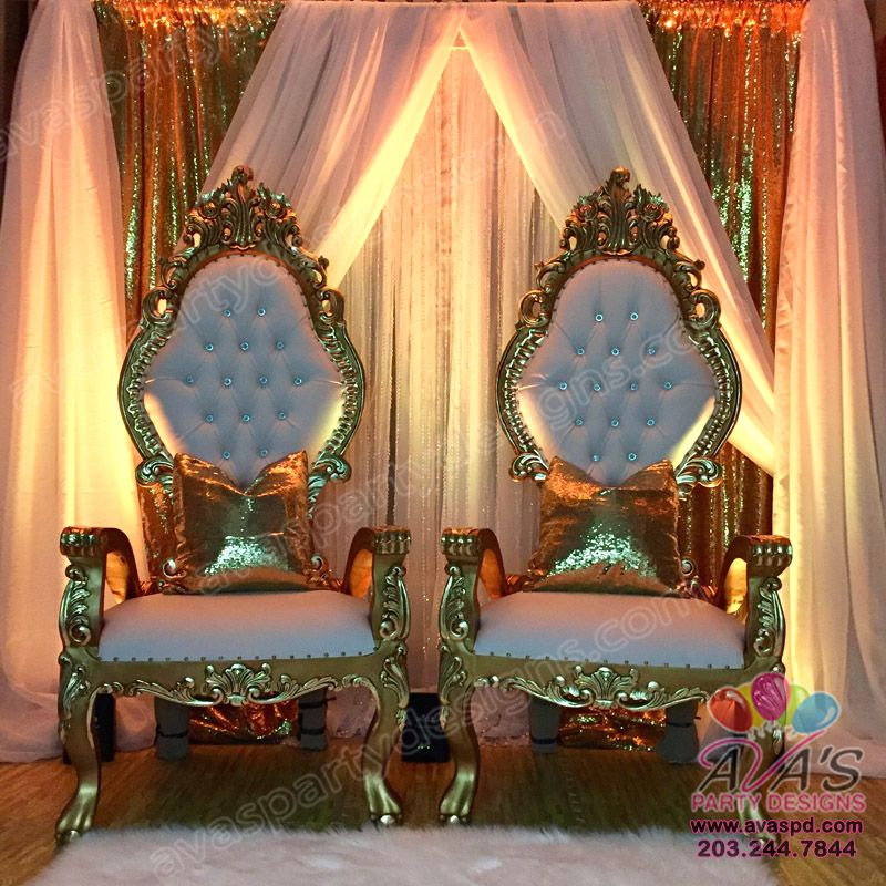 Babyshower · Party Rental Package A+: Throne Chairs, Premium Fabric Backdrop,  Uplighting, Pillows And