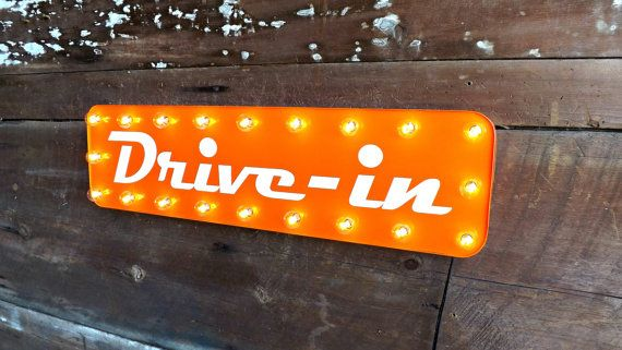 Drive In Marquee Lighted Sign Mid Century Diner Lights Hipster Decor Movie Theater Industrial