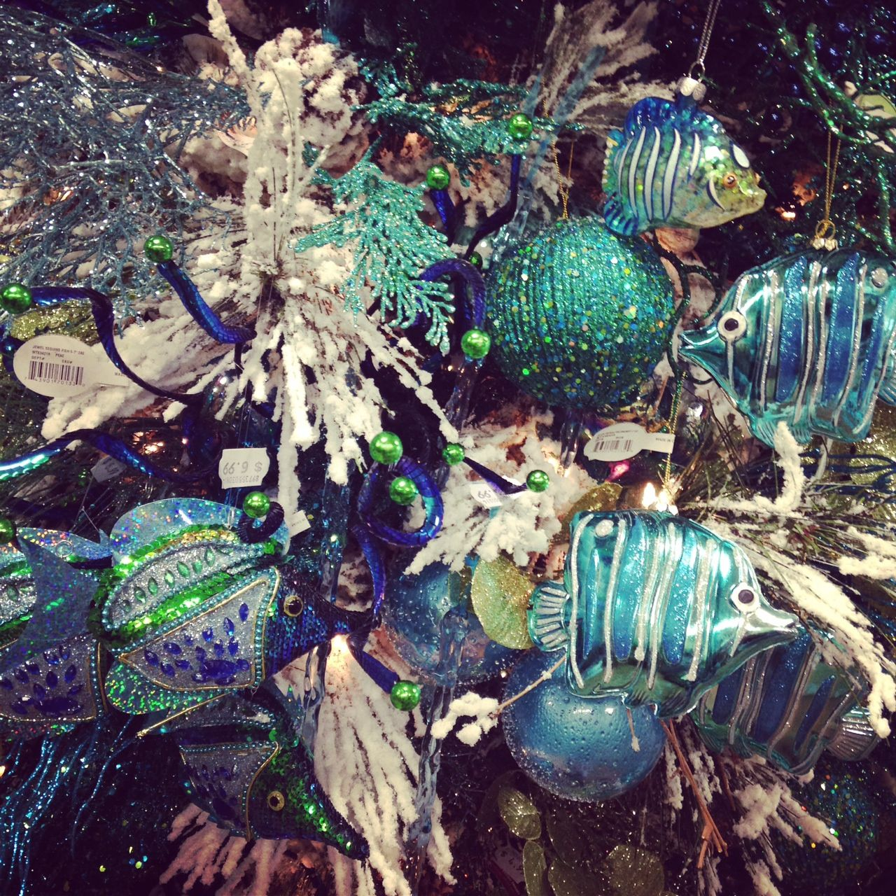 Ocean Aquatic Theme Christmas Tree - fish and lots of blues ...