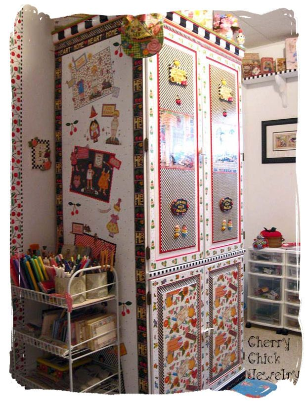 The Monster Size Mary Engelbreit Inspired Decorated Computer Armoire Oh My This Is Seriously Into Me Cute Office Craft E