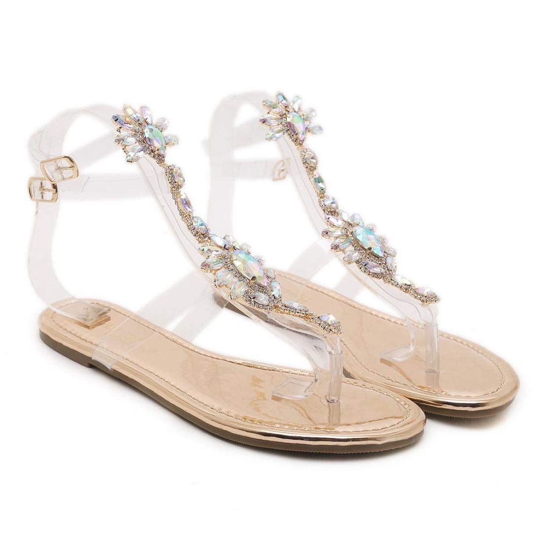 d7d160e0c8c8b Baigoods Summer Woman Sandals Rhinestones Rose Gold Transparent ...