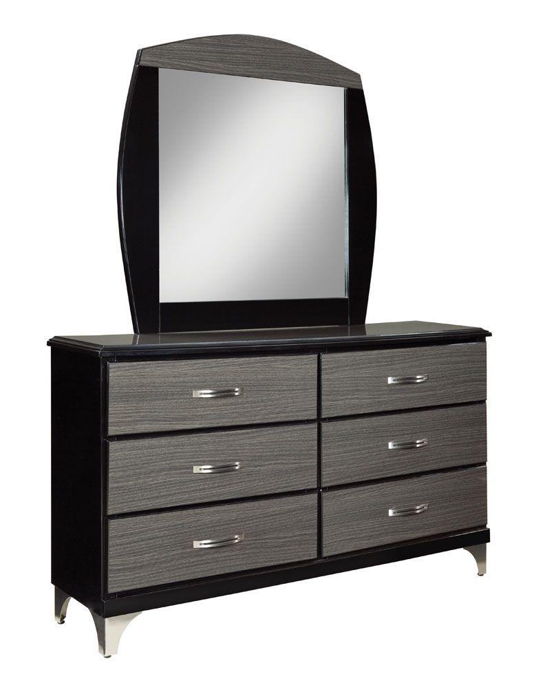 Decker black grey dresser mirror