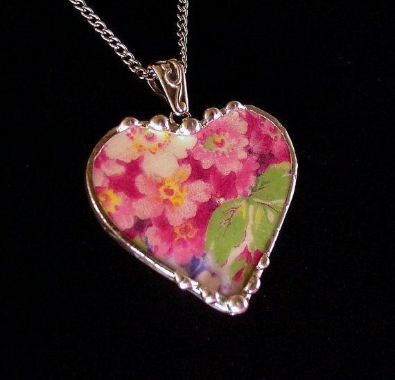 Broken China Jewelry Heart Pendant necklace James Kent apple blossom chintz