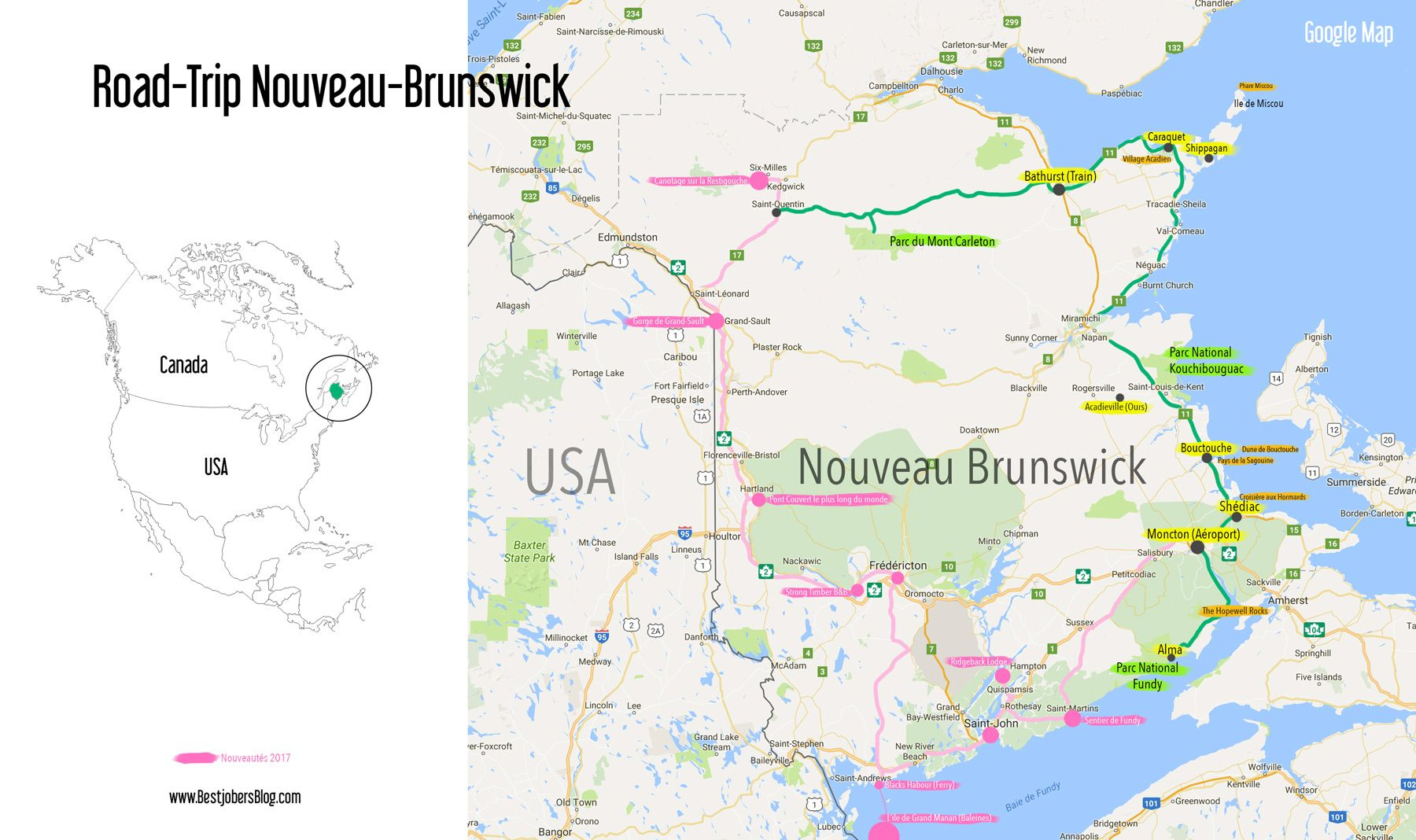 Carte Canada Nouveau Brunswick.Carte Et Itineraire Road Trip Nouveau Brunswick Canada