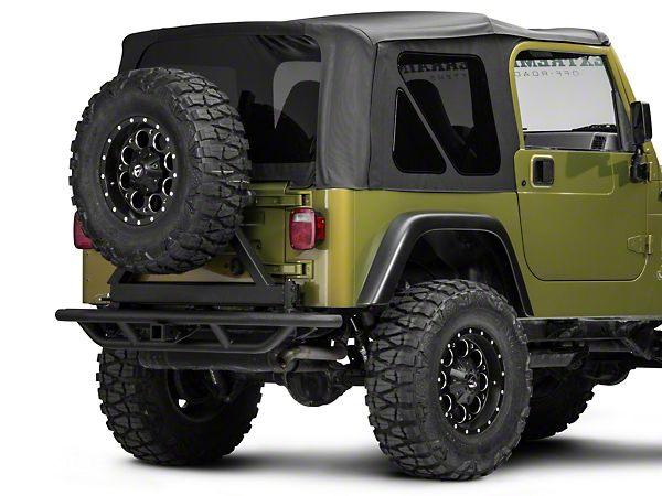 Redrock 4x4 Tubular Rock Crawler Rear Bumper W Tire Carrier Textured Black 97 06 Jeep Wrangler Tj Jeep Jeep Bumpers Jeep Wrangler