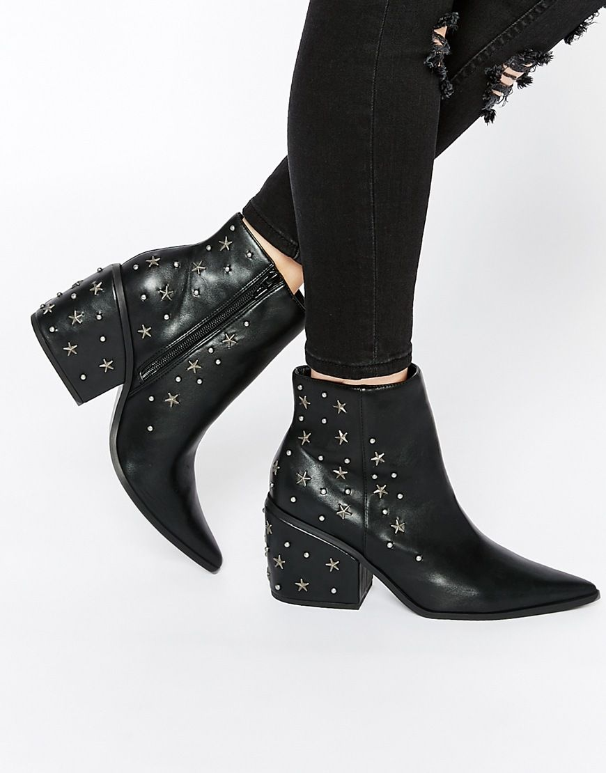 Western Studded Ankle Boots Womens Pointed Toe Block Mid Heel Slip On Booties by