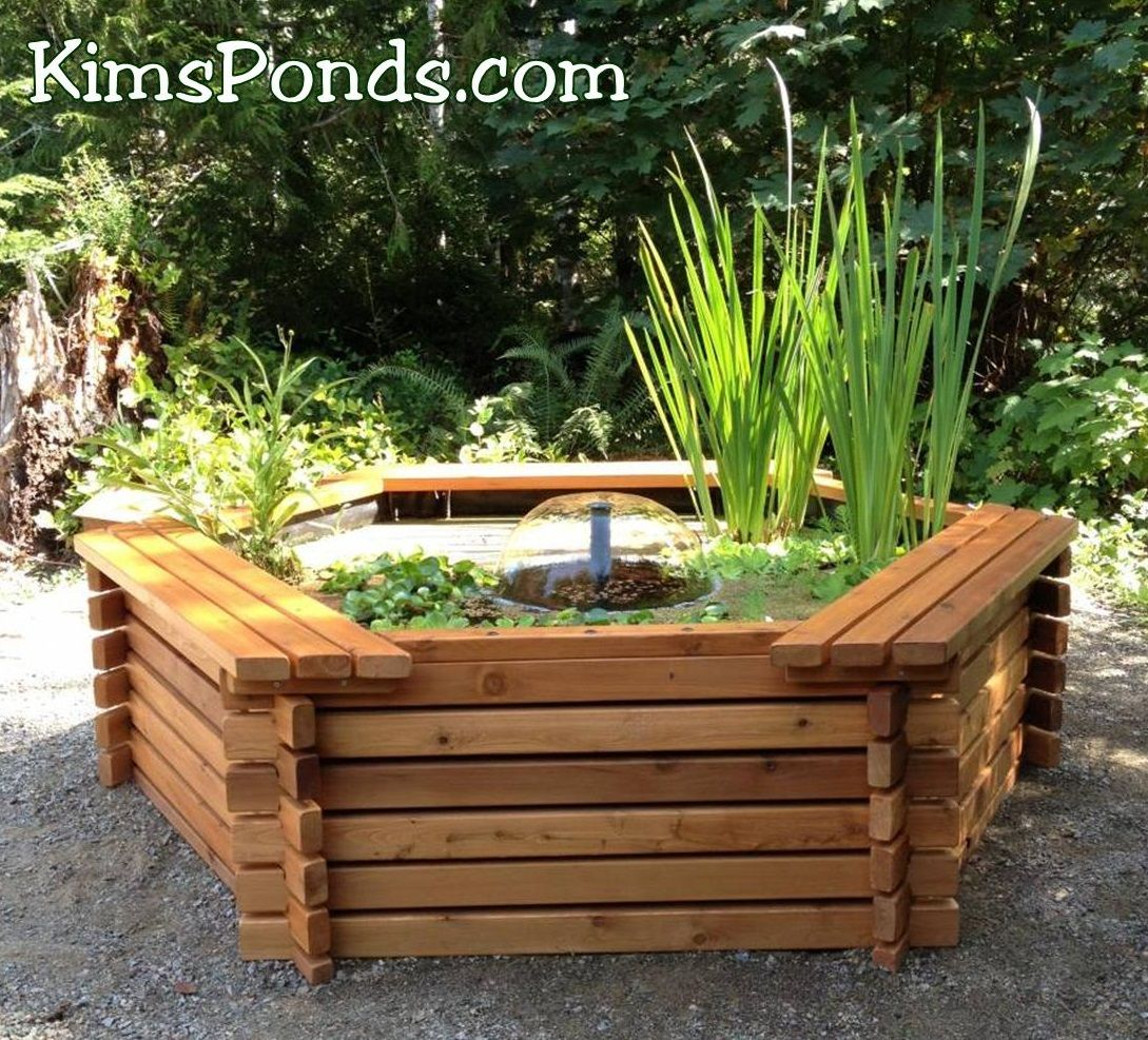 Our 300 gal above ground cedar pond kit is our most for Above ground koi fish pond