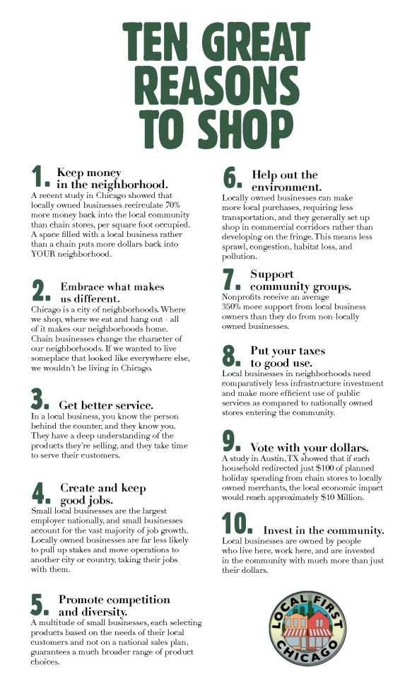 Local First Chicago Publishes 10 Great Reasons To Shop Local Chicago Shop Local Foot Shop