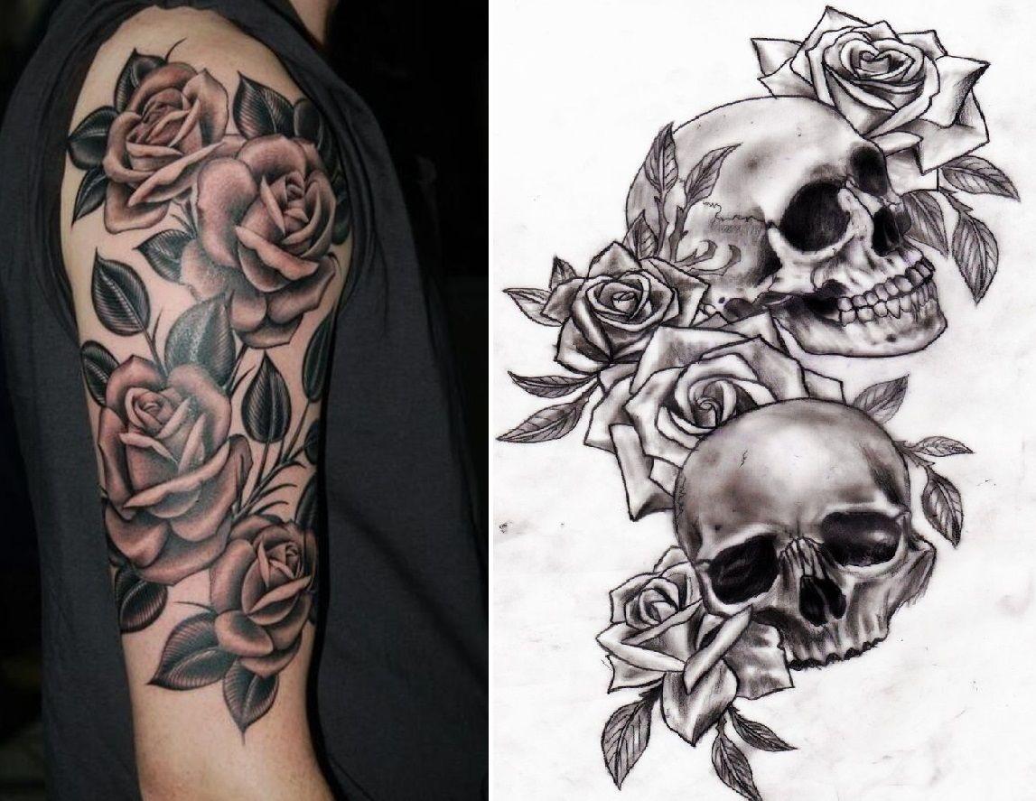 rose and skull tattoo half lower arm sleeve left misc tattoos