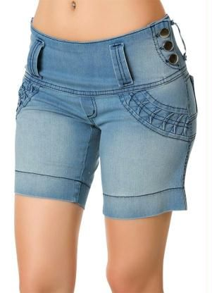 Mujeres De Cintura Alta con Flecos Casual Denim Pantalones Cortos ... 1333e0707880
