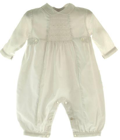 White Long Sleeve Baptism outfit for baby boy with embroidered Peter Pan collar and smocking.