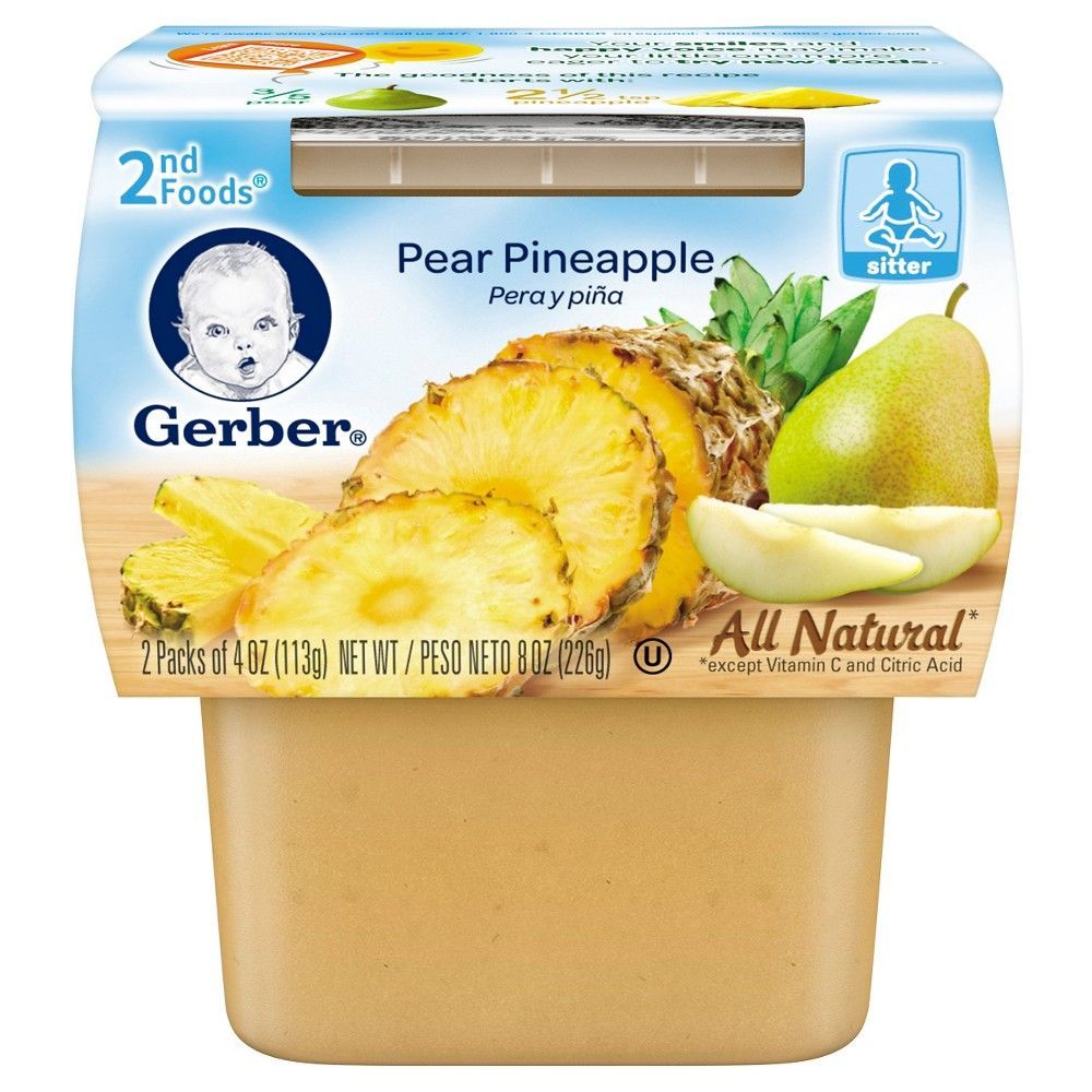 Gerber 2nd foods pear pineapple 4 ounce 2 count baby