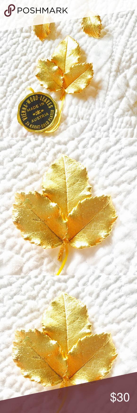 Vintage Vienna Made brooch hallmarked pendant 24kt Gold Plate Leaf gold finish Made in Austria