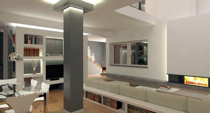 Immagine pilastri luci design pinterest columns and for Cucina open space con pilastri