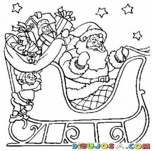 Colorear A Papa Noel Con Un Elfo Ayudandole A Meter Juguetes En El ...