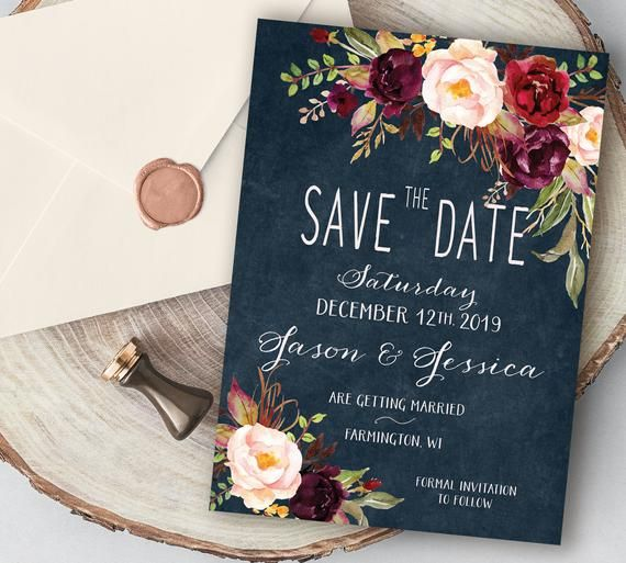 Save-The-Date: Navy, Plum and Burgundy Flowers with ...