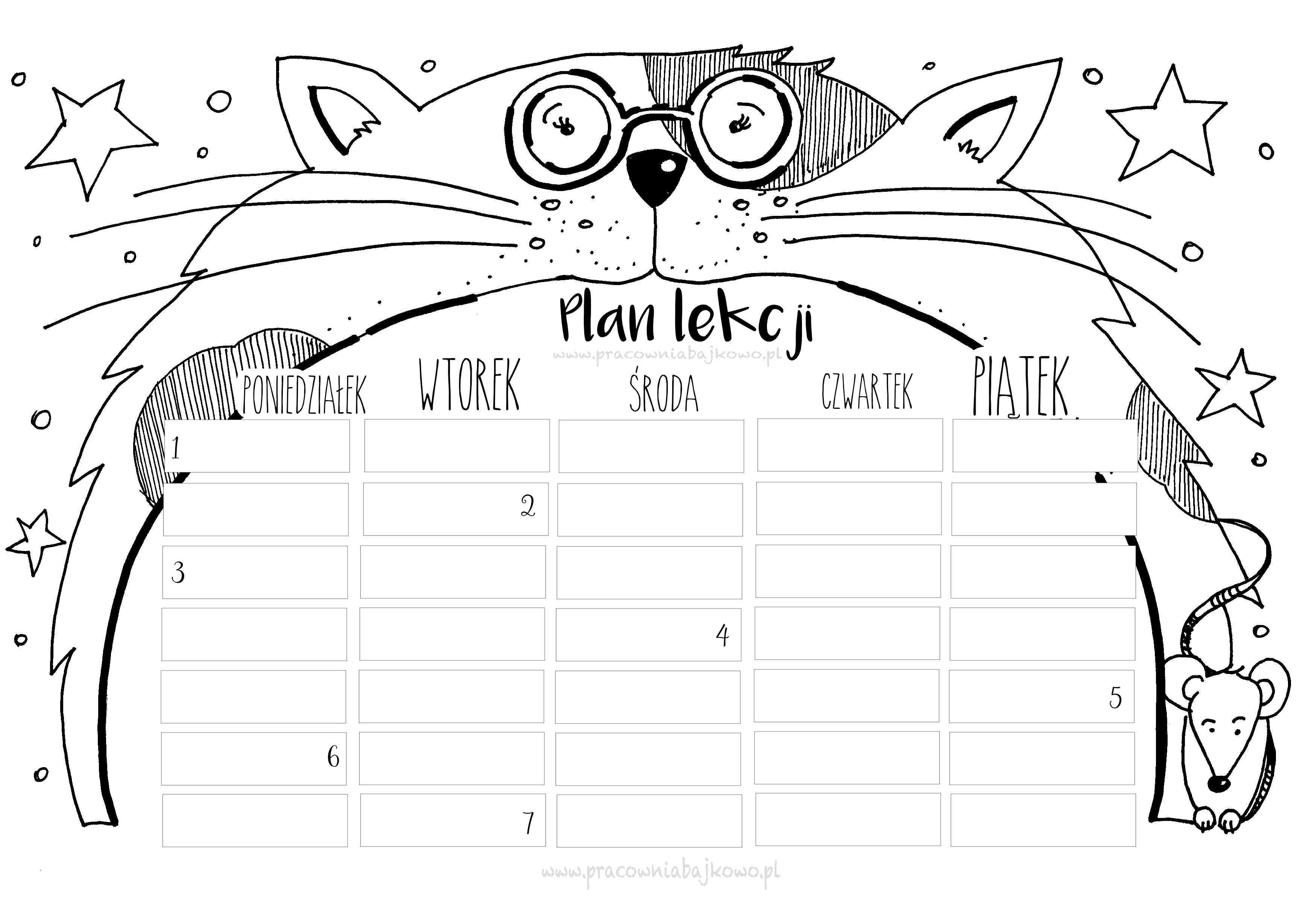 Plan Lekcji Z Kotem Cat School Plan Lekcji Plany Lekcji Do Wydrukowania