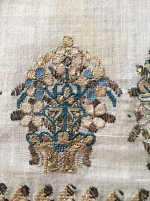 Large Antique Ottoman Turkish Hand Embroidery On Fine Linen Yalik