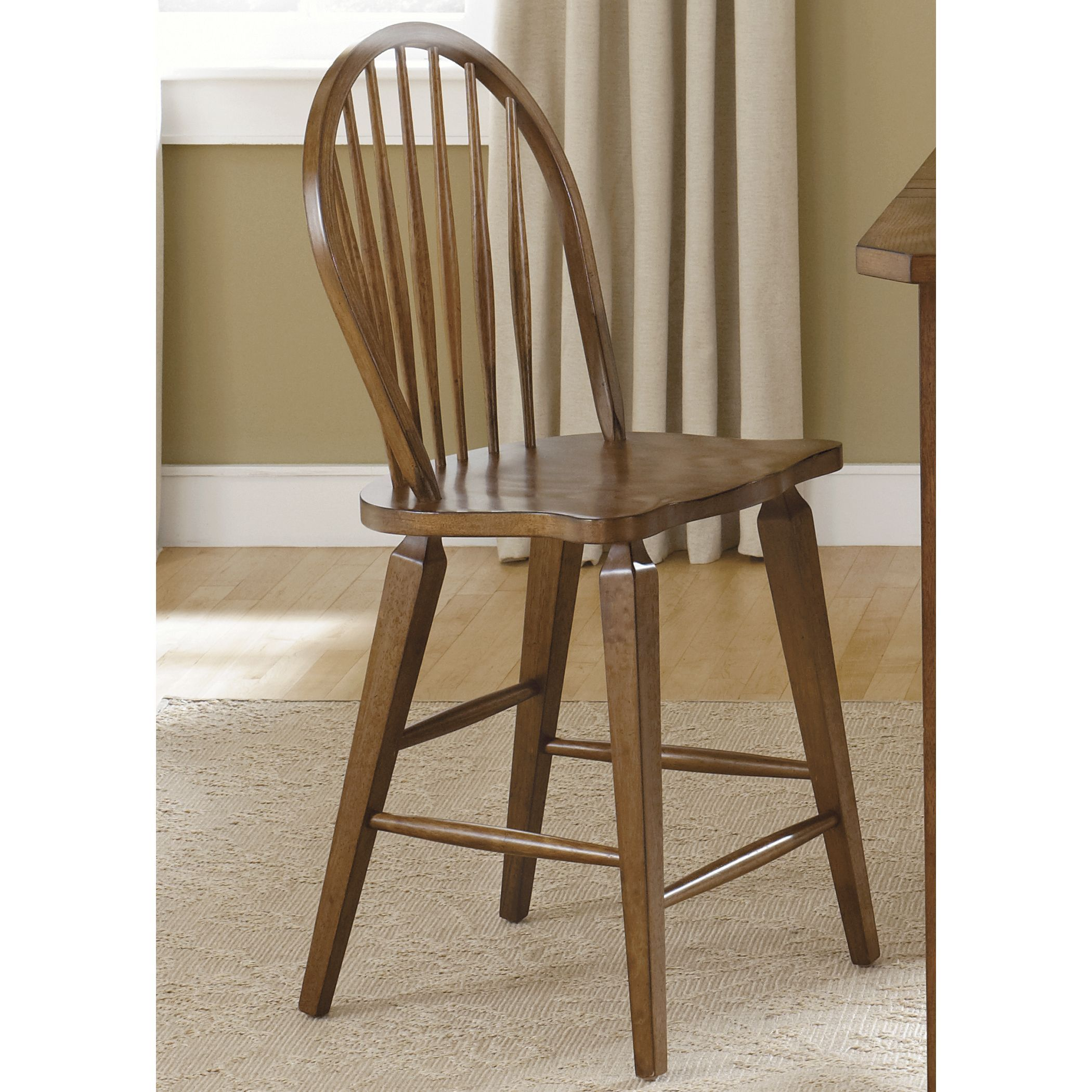This stylish swivel 24-inch barstool with arms is crafted from high-quality wood to provide a stunning and functional addition to your home decor. This stylish swivel 24-inch barstool with arms  features a rustic oak  finish and adds beauty to any space.