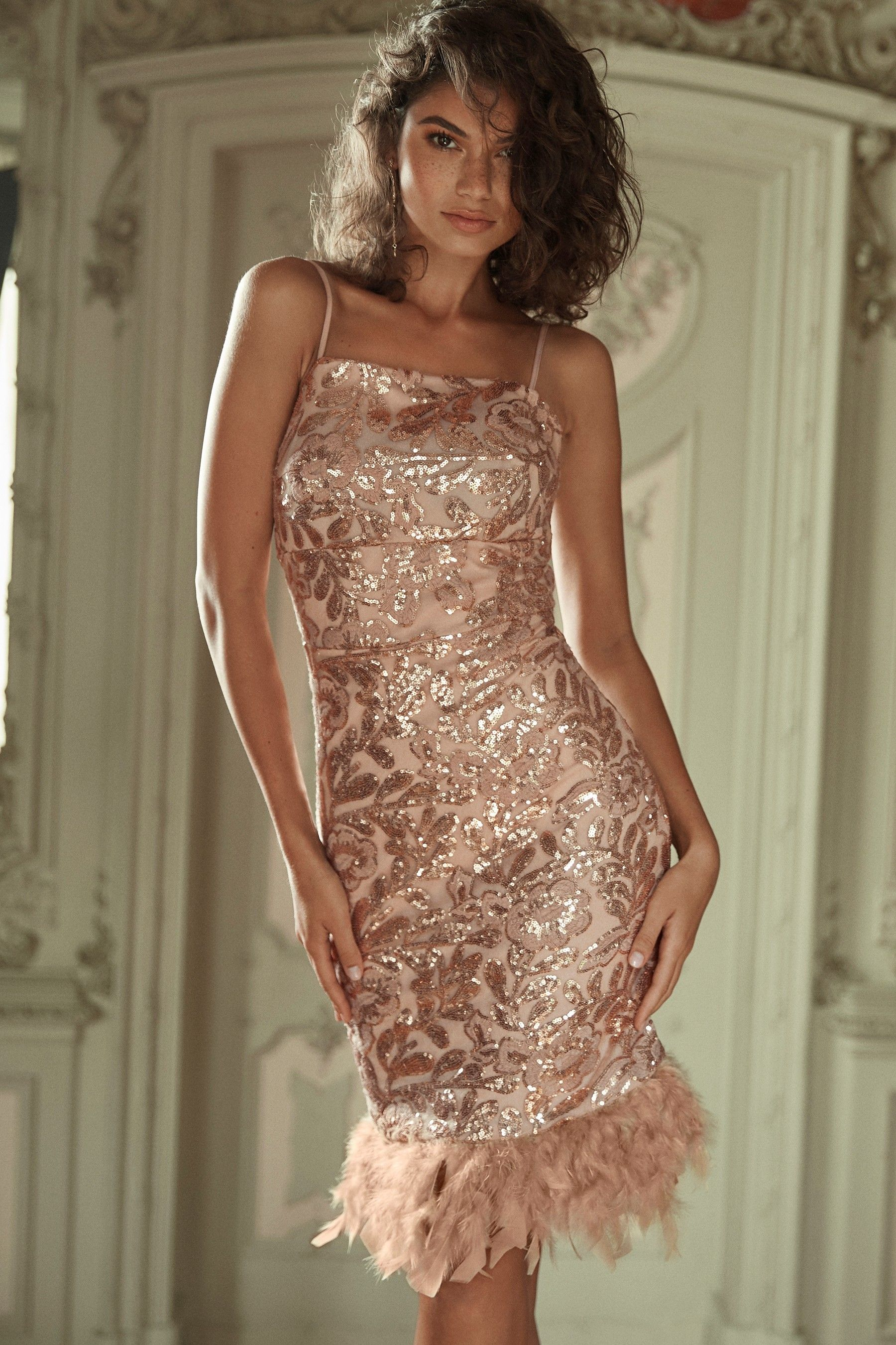 d263a5ebf4ff Womens Lipsy Square Neck Sequin Feather Hem Bodycon Dress - Nude ...