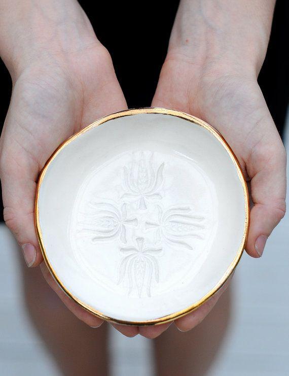 LOTUS - bijoux bol - jante or - grès argileux - Clear Glaze Non - free bol