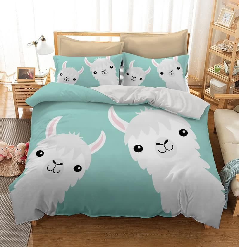 Two Llama Alpaca Face Neck Duvet Cover Bedding Set Kids Bedding Sets Cute Bed Sheets Bedroom Design