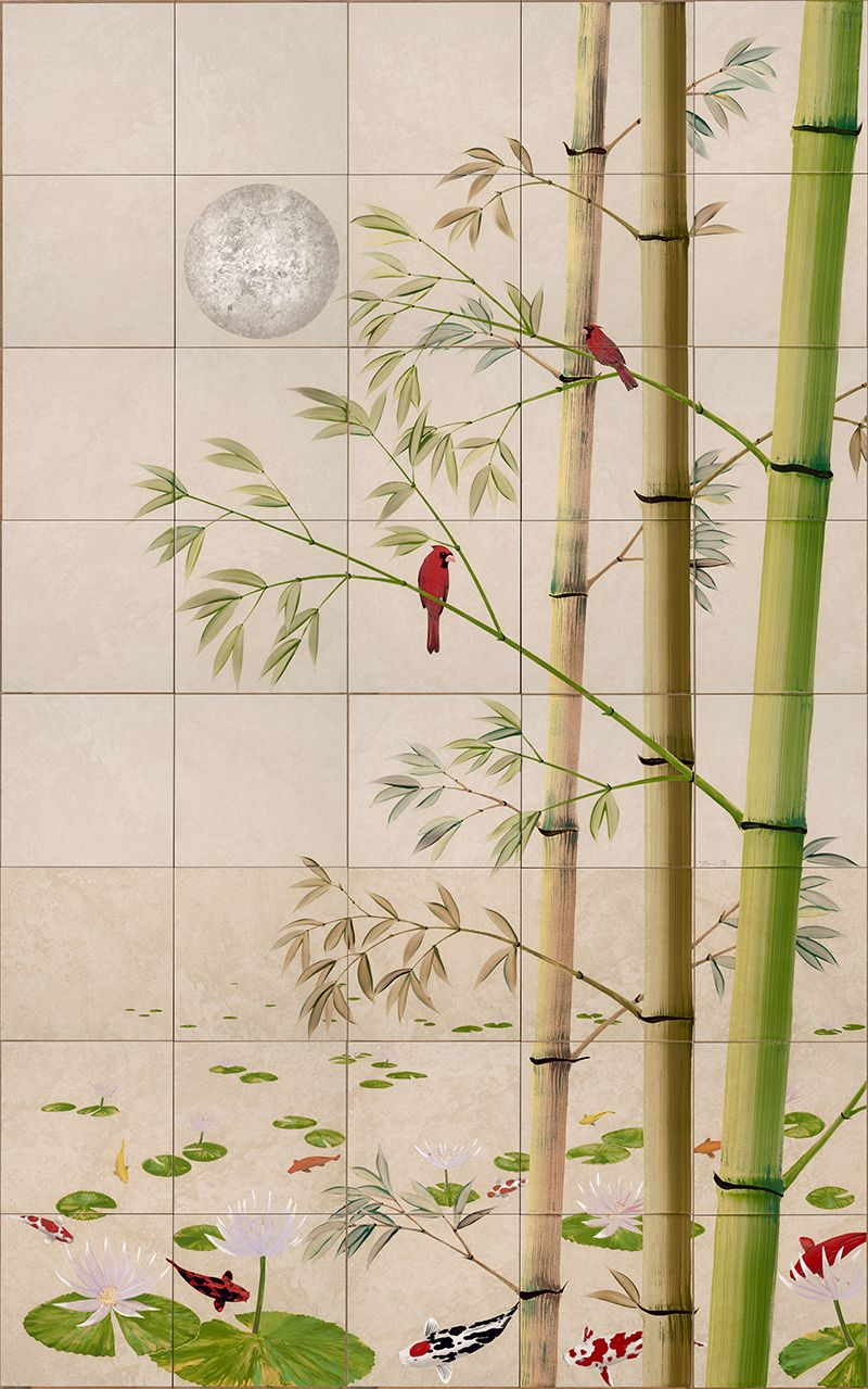 Asian Bamboo Wall Tile Mural Tiny House Plans In 2019