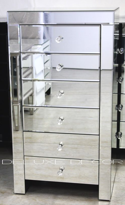 Modern Silver Mirror 6 Drawer Narrow Slim Chest Tall Boy 2501s