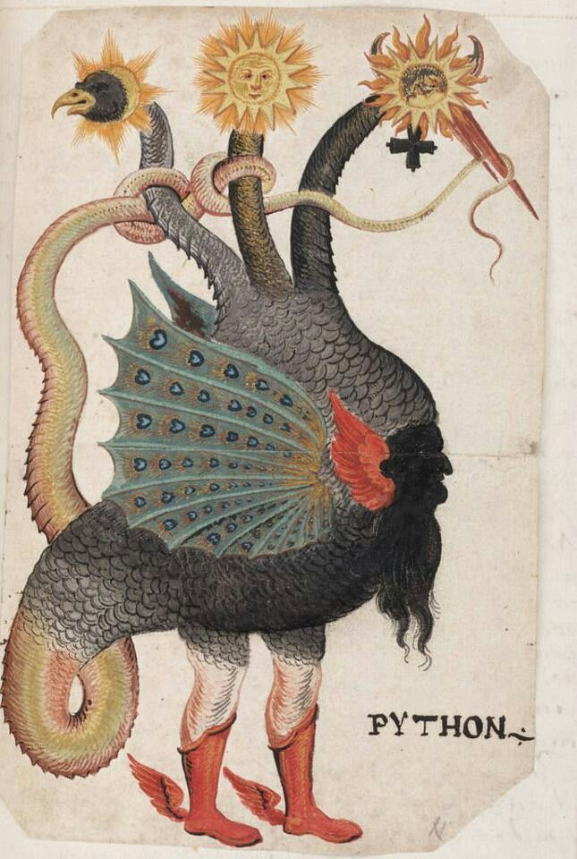 Fabuleux Python Mercury- Alchemy: a three headed dragon that symbolizes the  AV62