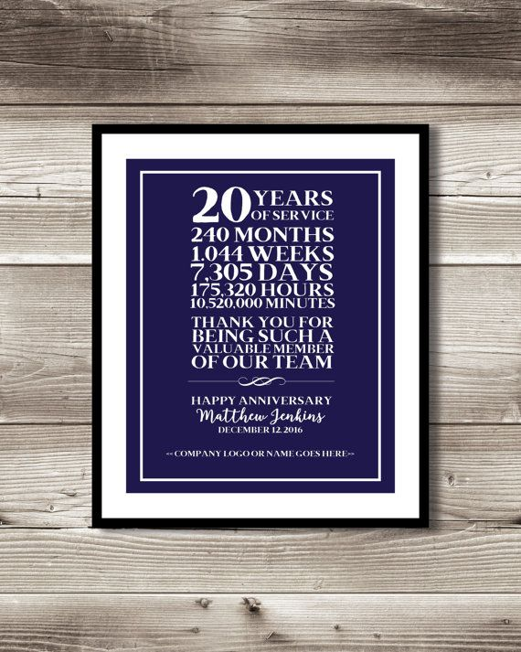 20 Year Work Anniversary Print Gift Idea Customizable Thank You Gift Years Of Service 20 Years Of Service Appreciation Recognition Work Anniversary 20 Year Anniversary Gifts Business Anniversary Ideas