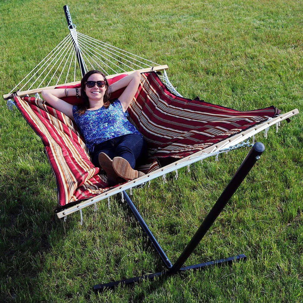 Sunnydaze cotton rope hammock with foot portable steel stand and