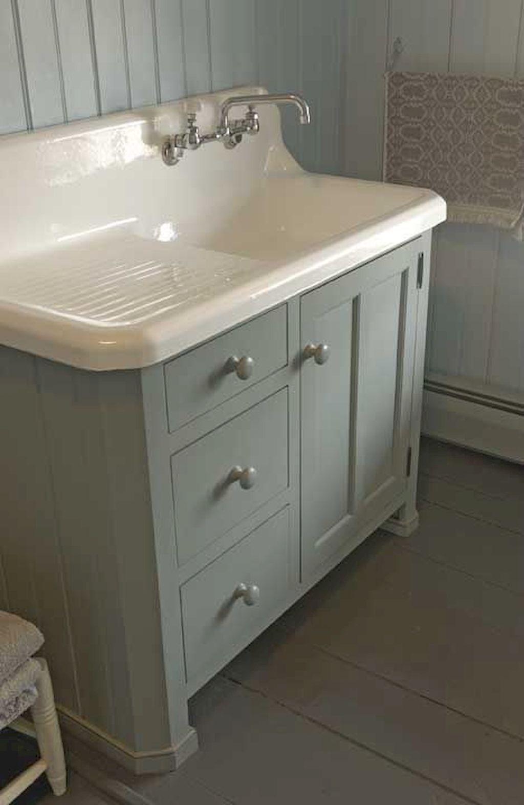 50 best farmhouse bathroom vanity remodel ideas 72 first home bathroom farmhouse sink for Farmhouse bathroom vanity plans