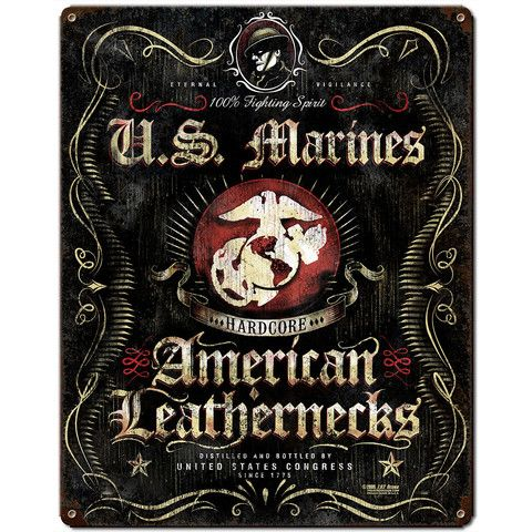 USMC 'Fighting Spirit' 7.62 Design Vintage Steel Sign