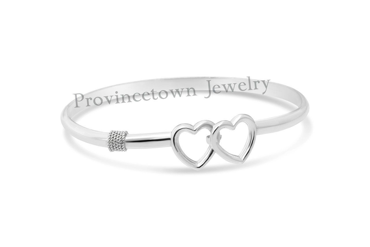 Cape Cod Double Heart Bracelet 925 Sterling Silver - Provincetown Jewelry