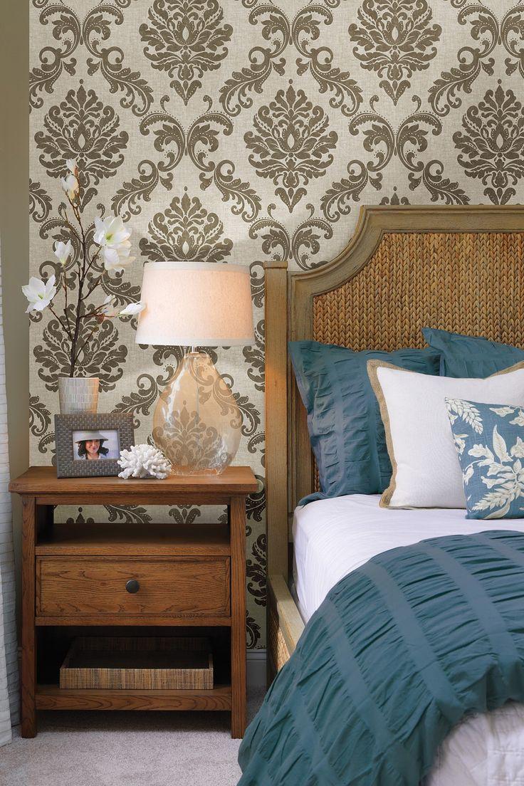 Best Sebastion Gold Damask Wallpaper Elegant Bedroom Decor 400 x 300