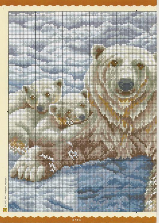 het goede leven met God  : gratis kruissteek patroon ijsbeer