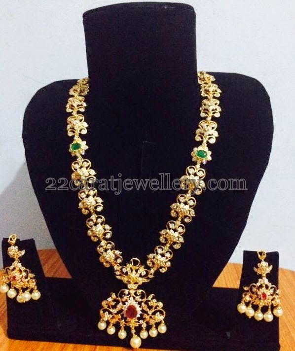 1 Gram Gold CZ Pretty Long Chain Indian jewelry Collection and