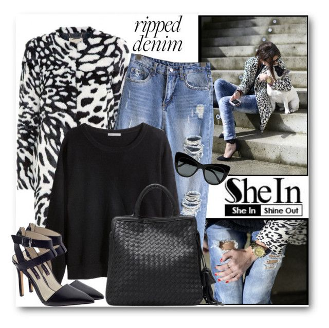 """""""SheIn Ripped Jeans"""" by brendariley-1 ❤ liked on Polyvore featuring H&M, Steve Madden and STELLA McCARTNEY"""